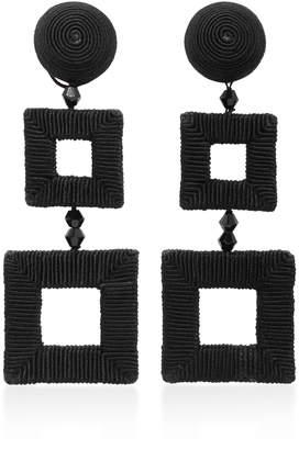 Oscar de la Renta Square Clip Earrings