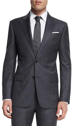 Armani Collezioni G-Line New Basic Sharkskin Two-Piece Wool Suit, Charcoal