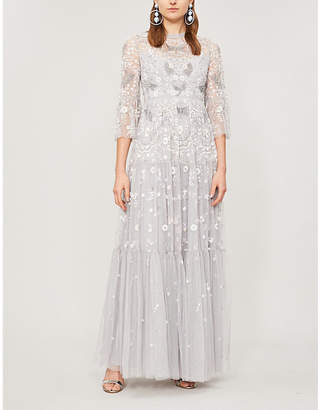Selfridges Needle And Thread Dragonfly Garden beaded cropped sleeve tulle maxi dress