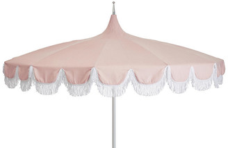 One Kings Lane Aya Pagoda Fringe Patio Umbrella - Light Pink