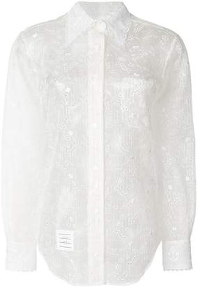 Thom Browne Oversized Long Sleeve Button Down Point Collar Shirt In Organza With Hector And Floral Broderie Anglaise