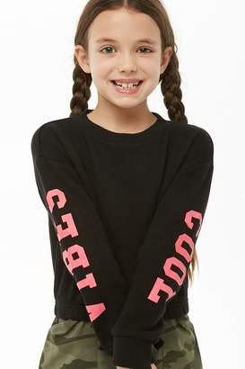 Forever 21 Girls Cool Vibes Graphic Sweatshirt (Kids)