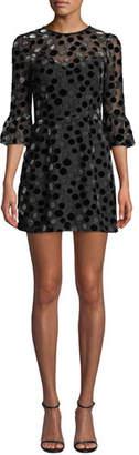 Saylor 3/4-Sleeve Dot Burnout Mini Dress