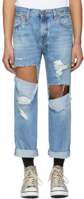R 13 Blue Sid Straight Jeg Ripped Jeans