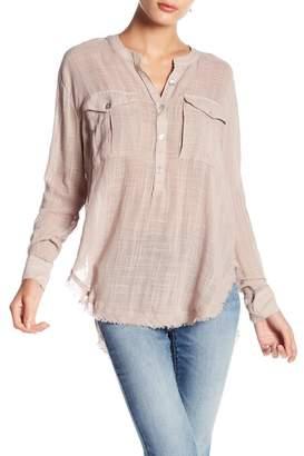 Free People Linen Button-Down Long Sleeve Shirt