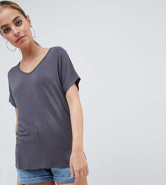 Asos DESIGN Petite t-shirt with drapey batwing sleeve in gray