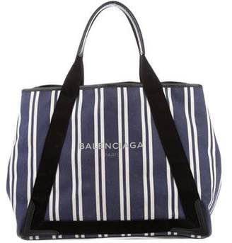 Balenciaga Medium Striped Cabas Tote