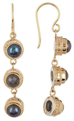 Anna Beck 18K Gold Plated Sterling Silver Grey Sapphire & 6mm Simulated Blue Pearl Triple Drop Earrings