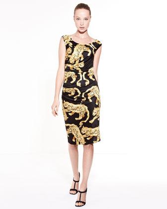 Versace Tiger Baroque Print Ruched Dress