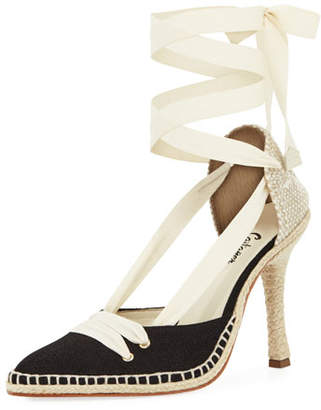 Manolo Blahnik Castaner x Canvas Two-Tone Espadrille Pump