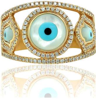 Diana M 14k Evil Eye Diamond-Trim Ring, Size 7