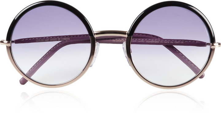 Cutler and Gross Leather-trimmed round-frame metal sunglasses
