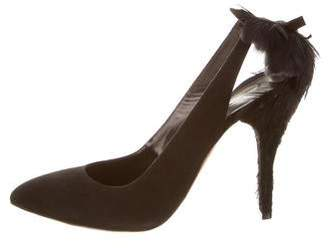 Oscar de la Renta Fabia Feather-Trimmed Pumps w/ Tags