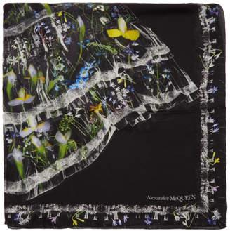 Alexander McQueen Black Silk Ophelia Scarf