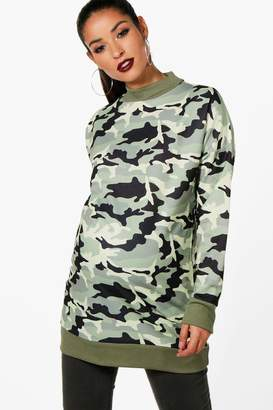 boohoo Maternity Izzy Camo Oversized Sweat Top