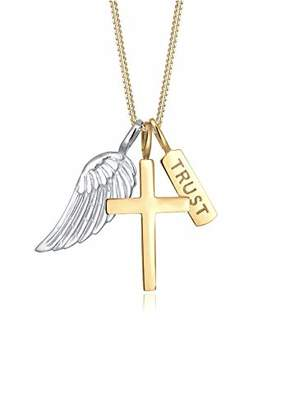 Elli Women's 925 Sterling Silver Wording Lettering Cross Religion Bi-Color Pendant Necklace - 45cm length