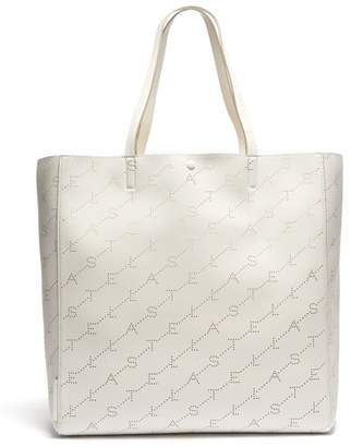 Stella McCartney Logo Pattern Faux Leather Tote Bag - Womens - White