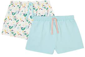 John Lewis Girls' Bird Print Shorts, Pack of 2, Blue