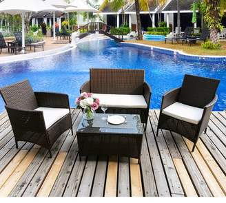 Winston Porter Avalon Deep Seating 4 Piece Rattan Sofa Set with Cushions