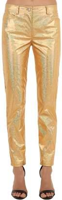 Jeremy Scott Golden Metallic Coated Cotton Pants