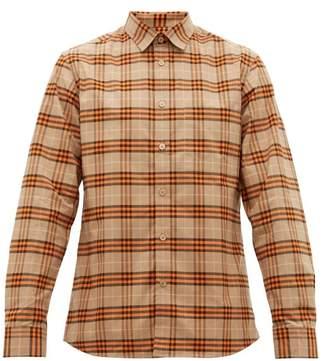 Burberry Simpson House Check Cotton Blend Shirt - Mens - Beige Multi
