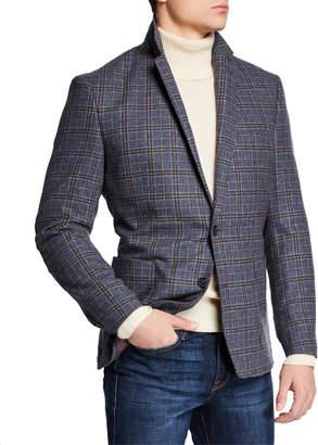 English Laundry Men's Zip-Out Bib Butler Plaid Blazer