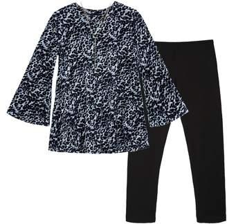 Amy Byer Iz Girls 7-16 IZ Leopard Print Velvet Top & Leggings Set with Necklace