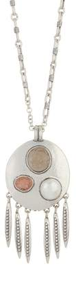 Lucky Brand Leather Druzy & 11mm Pearl Pendant Necklace
