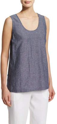 Go Silk Sleeveless Cross-Dye Linen Tank, Petite