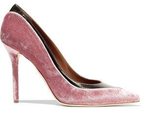 Malone Souliers Emmanuelle Two-Tone Mirrored-Leather And Velvet Pumps