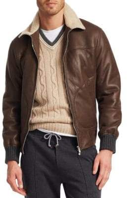 Brunello Cucinelli Leather& Shearling Jacket
