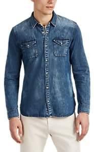 John Varvatos Men's Cotton Chambray Western Shirt - Blue