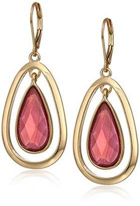 Anne Klein Women's Gold Tone Stone Leverback Drop Earrings