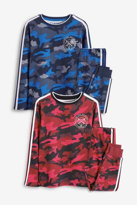 Next Boys Red/Blue 2 Pack Camo Print Pyjamas (3-16yrs) - Red
