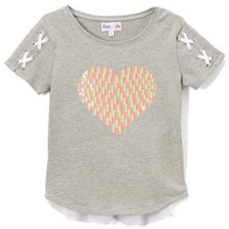 Freestyle Revolution Sequin Heart French Terry Short Sleeve Top (Big Girls)