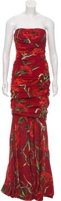 Dolce & Gabbana Strapless Ruched Floral Dress Red Strapless Ruched Floral Dress
