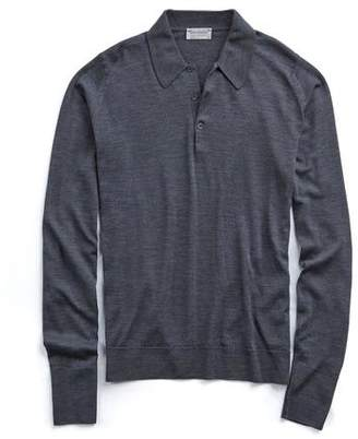 John Smedley Sweaters Long Sleeve Easy Fit Merino Polo in Charcoal