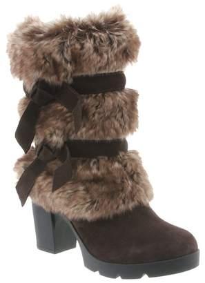 BearPaw Bridget Faux Fur Trimmed Block Heel Boot