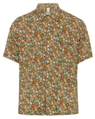 Finamore 1925 - Floral Print Short Sleeved Cotton Poplin Shirt - Mens - Green