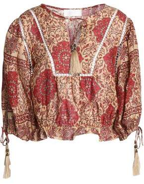 Zimmermann Lattice-Trimmed Printed Linen Blouse