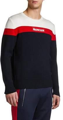 Moncler Men's Colorblock Logo Wool Crewneck Sweater