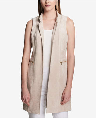 Calvin Klein Faux-Suede Zipper-Pocket Vest