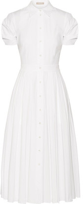 Michael Kors Collection - Pleated Cotton-blend Poplin Midi Dress - White $1,495 thestylecure.com