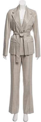 Saint Laurent Belted Wool Silk Suit Set
