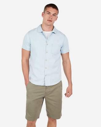 Express Slim Light Wash Short Sleeve Denim Shirt