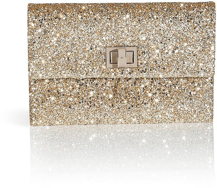 Anya Hindmarch Glitter Fabric Valorie II Clutch in Pale Gold