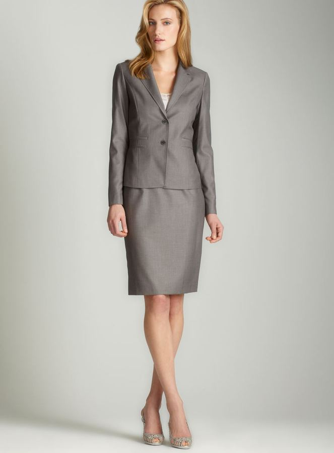 Calvin Klein Double slit pocket skirt suit