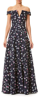 Carolina Herrera Off-the-Shoulder V-Neck Evening Gown