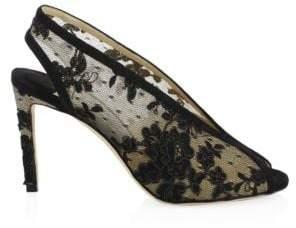 Jimmy Choo Shar Lace Peep Toe Heels