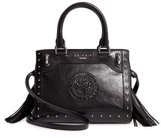 Balmain Mini Logo Calfskin Leather Top Handle Satchel
